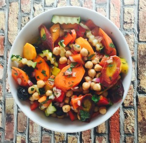 Moroccan Chopped Salad with Honey Harissa Dressing - Cooking Onions